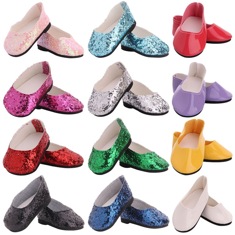 Doll Shoes 7 Cm Sequin Shoes Boots For 18 Inch American&43 CM Reborn Baby New Born Doll ,Girl's Russia DIY Gifts Toys 1/3 Blyth недорого