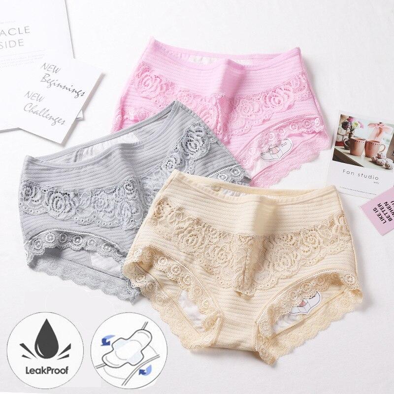 Sexy renda calcinha menstrual respirável algodão fisiológico período à prova de vazamento roupa interior feminina plus size período calcinha 5xl