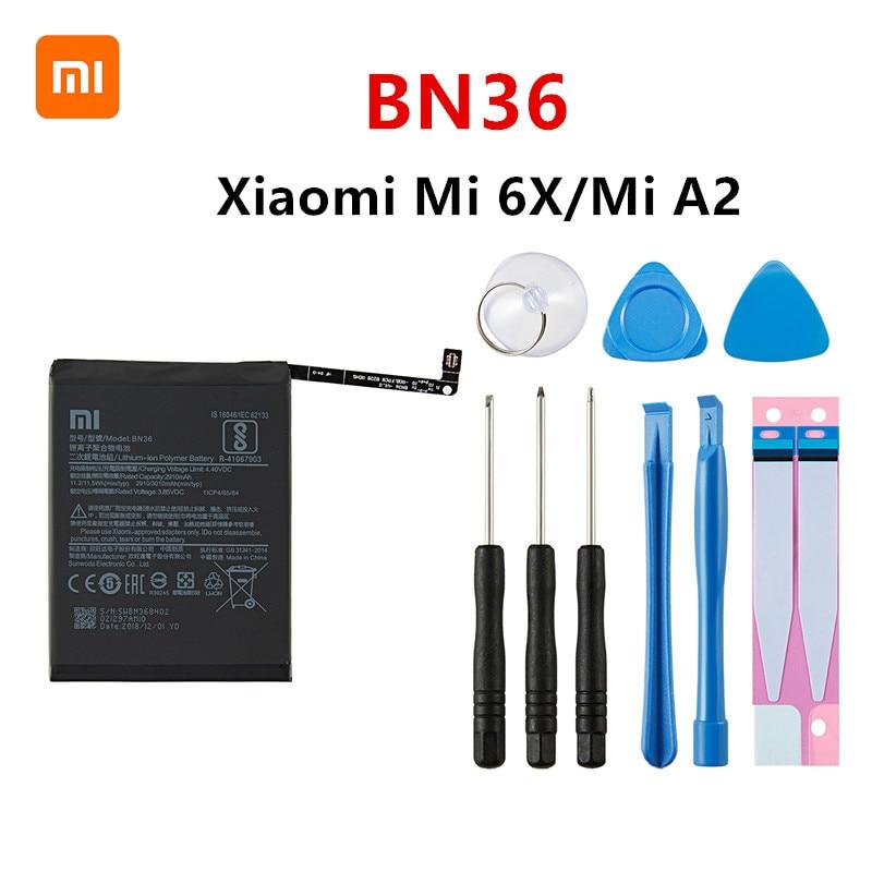 Xiao minibateria orginal bn36 100% mah, bateria para celulares xiaomi mi 6x mi6x mi a2 mia2 bn36 baterias + ferramentas para substituição