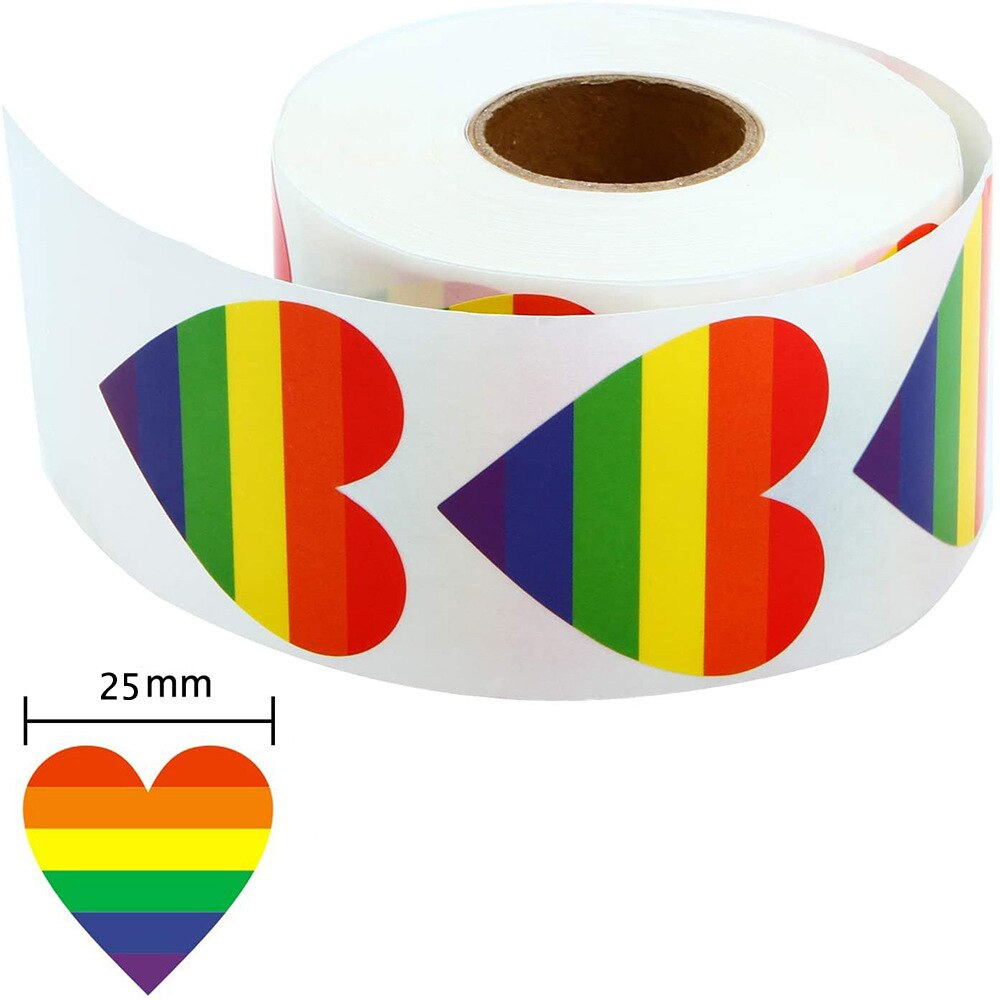 pegatinas-del-orgullo-gay-pegatinas-de-arcoiris-corazon-de-amor-pegatina-para-hornear-cinta-en-forma-de-corazon-arco-iris-de-amor-de-1-pulgada-50-500-piezas
