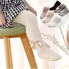 Medias de algodón para niña, medias de princesa con lazo, pantimedias de una pieza para bebé, pantalones de encaje de estilo nuevo para primavera y otoño