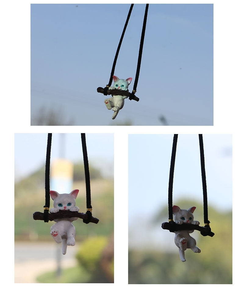 Подвесные Украшения для автомобиля, аниме, теплый сердечко, милая кошка, автомобильные аксессуары, белая кошка, интерьер, украшение для зерк...