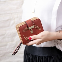 Fashion Women's Purse Short Zipper Wallet Women Leather 2020 Luxury Brand Small Women Wallets Clutch Bag With Hollow Out Leaves