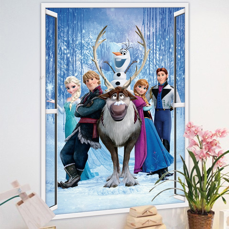 New Frozen Wall Sticker 3d Three Dimensional Decorative Disney Painting Home Decorations Party Background Wall Leather Bag