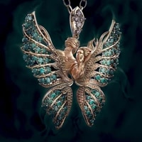 mens and womens two color butterfly inlaid hao stone pendant fashion couple pendant necklace new party party necklace