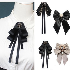 New Female Unisex Bow Tie Brooches for Women Pearl Crystal Pendant Collar Pin Shirt Clothes Necktie Bowknot Suit Accessories