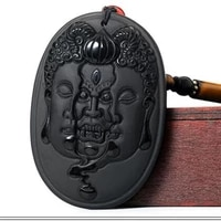 new popular natural obsidian jade necklace hanging between the first thought of buddha and devil fashion jewelry amulets for men