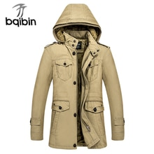 Winter New Men Jacket Casual Mens Thick Warm Windproof Winter Fashion Hooded Casual Slim Zipper Coat