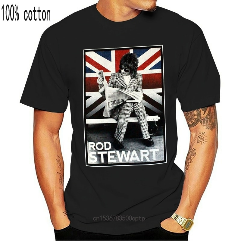 New Rod Stewart Plaid Union Jack Tour 2014 Black T Shirt Men Women Oversized Tops TEE Shirt