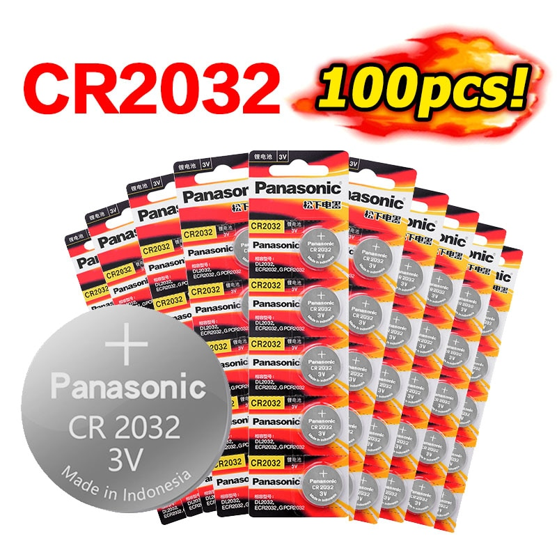 Pila de moneda con botón de batería de litio 3V PANASONIC 100 Uds., pila de moneda CR2032 DL2032 KL2032 5004LC SB-T15 para ver ordenadores con Control remoto