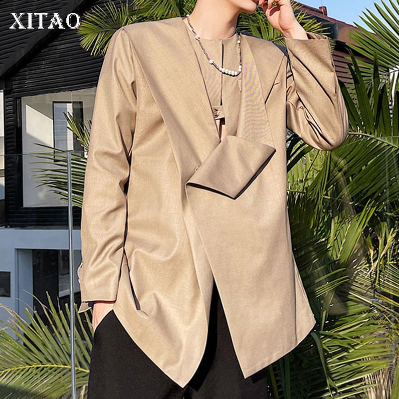 سترة عصرية للنساء من XITAO بتصميم غير منتظم على شكل أقلية مزركش فضفاض بزر واحد جديد للصيف WMD0637