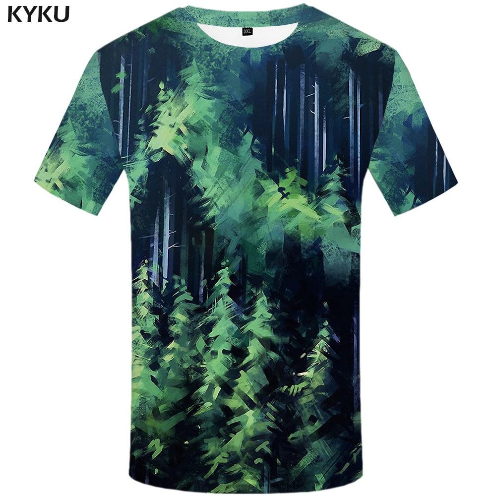 Camiseta 3d bosque T shirt hombres Graffiti divertidas camisetas camisa psicodélica estampado verde Anime ropa abstracto camisetas 3d
