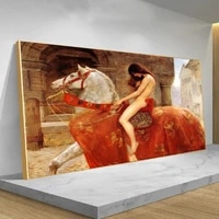 john collier famous painting mrs godiva woman canvas painting posters and prints pop art wall pictures for home decoration