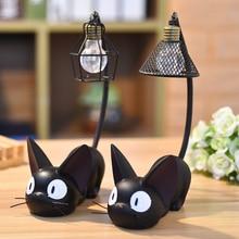 Résine chat Animal veilleuse ornements décoration de la maison petit chat LED lampe de nuit enfant enfants cadeau Table chevet lampes de lecture