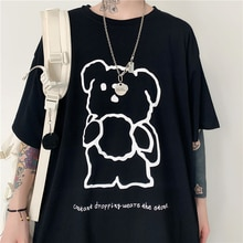 Top 2021 Summer New Harajuku Ins Trendy Bear Printed Casual All-Match Loose round Neck Short Sleeve