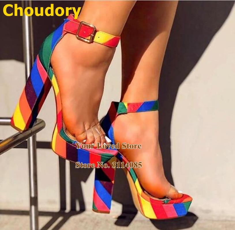 Choudory arco-íris stripe chunky saltos plataforma clara pvc cinta sandálias tornozelo fivela cinta snakeskin sapatos de salto feminino vestido bombas