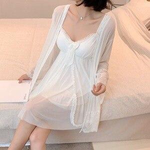 Sweet Homewear 2PCS Robe Set Cotton Kimono Gown Sleepwear Intimate Lingerie Casual Mini Nightwear Summer New Home Clothing