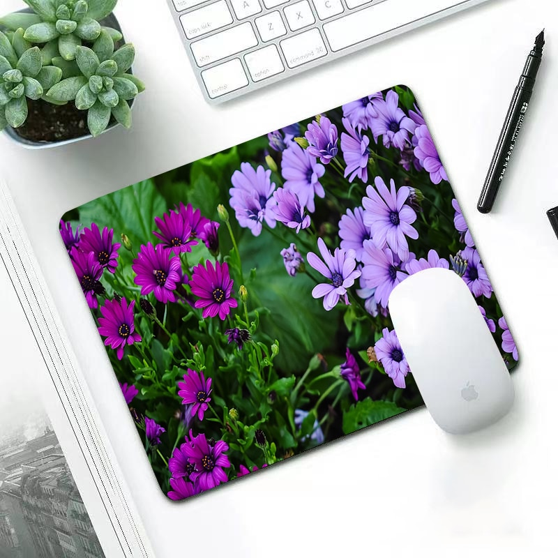 Luxury African Daisy small 22x18cm office leisure edge anti slip washable laptop game mouse pad Waterproof girl cool mousepad enlarge