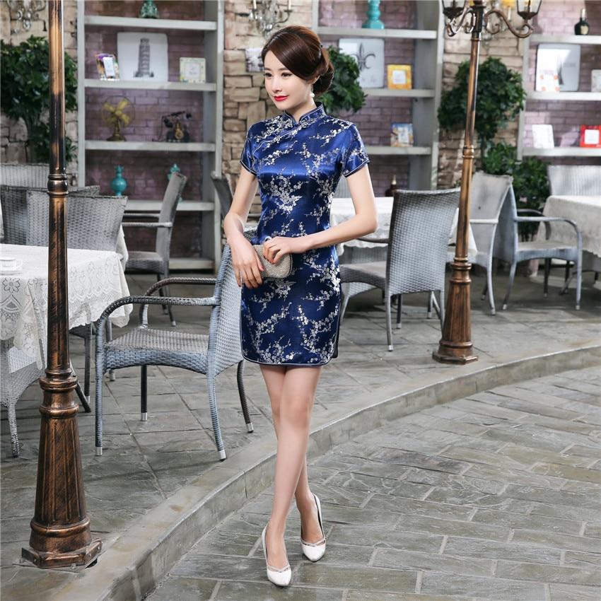 Oriental Navy Blue Women Classic Cheongsam Vintage Button Vestido Evening Party Gown Mandarin Collar Chinese Dresses Qipao