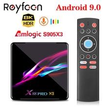 X88 PRO X3 Android 9.0 TV Box Amlogic S905X3 Quad core 5G Wifi 4K 2GB 16GB 4GB 128GB décodeur Google Media YouTube 64GB 32GB