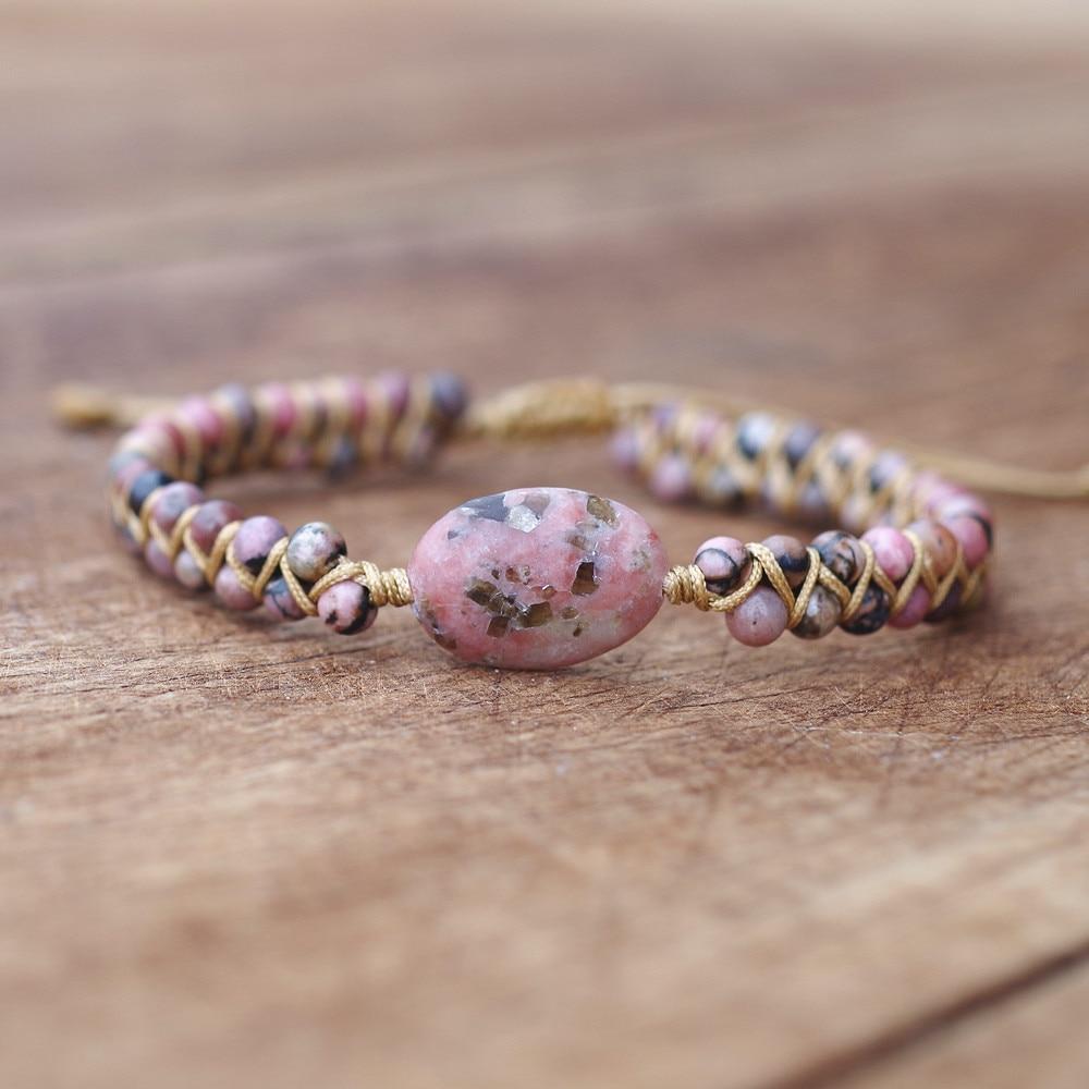 Feito à mão mulheres homens string trançado yoga amizade pulseira pulseira boêmio jóias de pedra natural grânulos charme urdidura pulseira