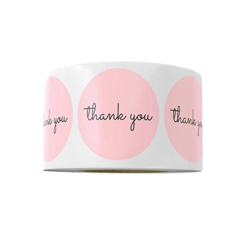 500 PcsThank, pegatinas rosas para regalos de empresa, etiquetas de regalo para fiesta de cumpleaños, suministros de correo, etiquetas para hornear