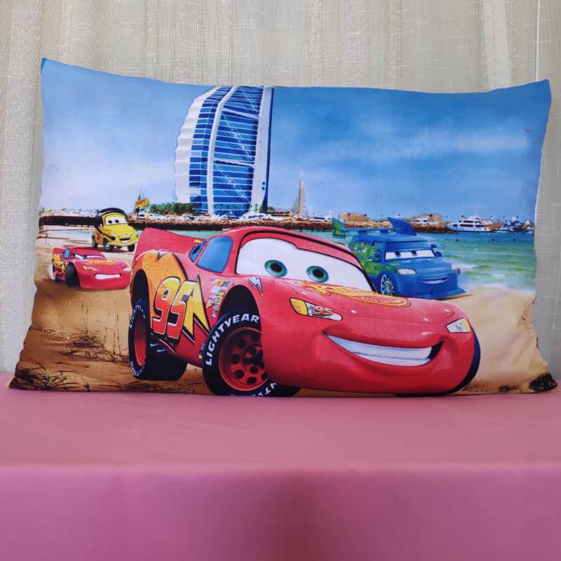 Funda de almohada de automóvil McQueen playera para decoración de dormitorio de Chico, funda de almohada para niños en 3D, 1 pieza, 48x74 cm, para bebé