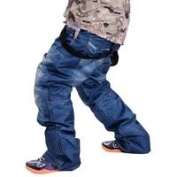 hot sale new jean snowboard pants suspenders denim ski pants mens skate snow board waterproof thermal pants adult pantalones