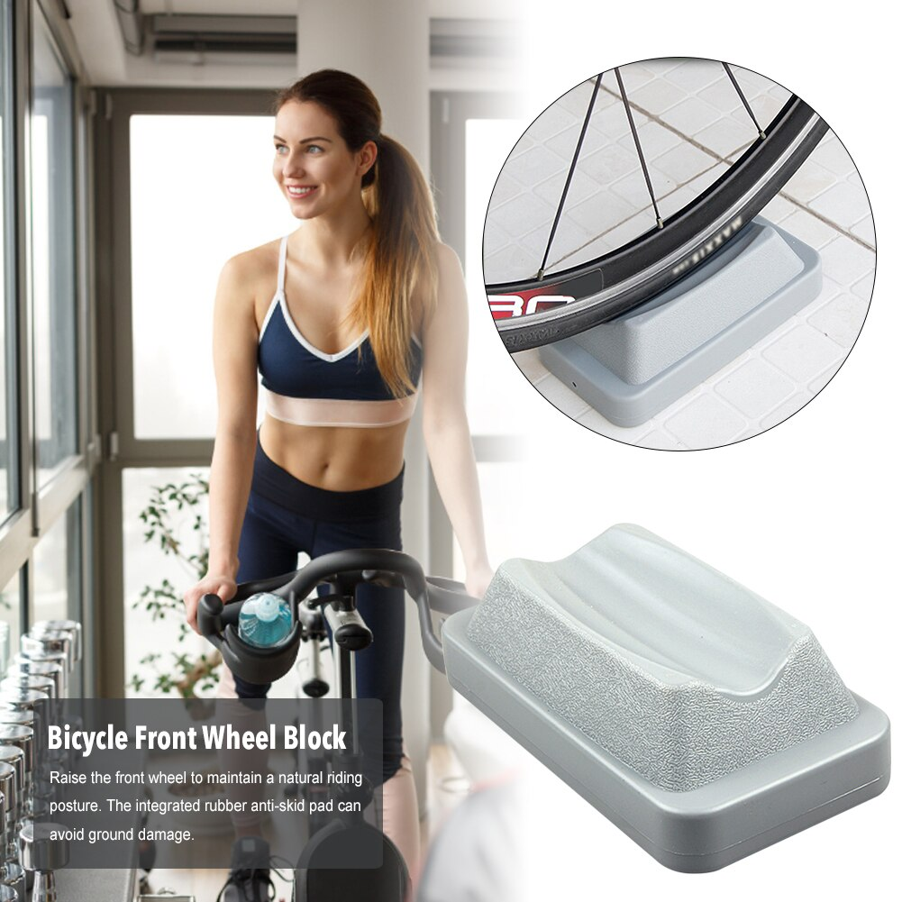 Front Wheel Riser Block with Sturdy molded plastic wheel for Indoor Bike Trainern door Bicycle Training Trainers