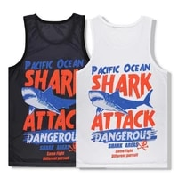 alisister plus size 3d vest shark print men women sleeveless tank top bodybuilding male fitness undershirts summer beach tops