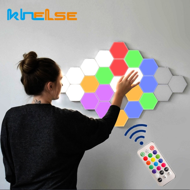 Quantum Hexagon Led Wall Lamp Modular Honeycomb Remote Control Panel Lamps Bedroom Touch Sensitive Helios Magnetic Wall Lighting