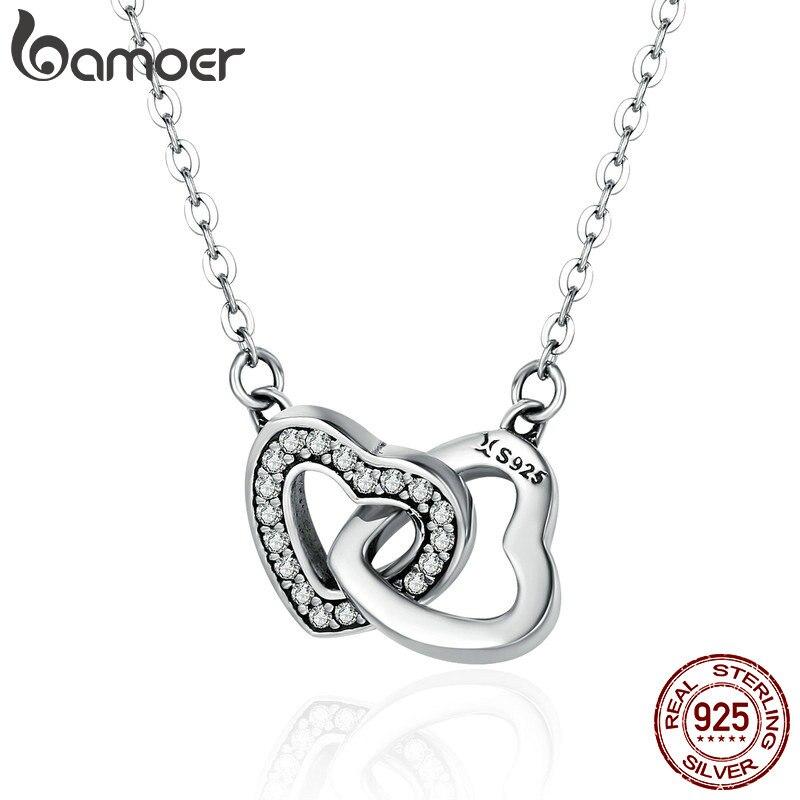 Regalo del Día de San Valentín de BAMOER, collar con colgante de corazón conectado de Plata de Ley 925 para novia SCN181