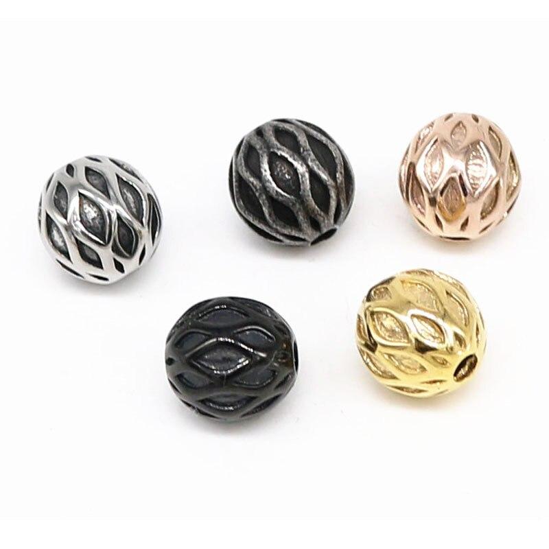 Cuentas espaciadoras, cuentas para fabricación de joyas, Cuenta de piedra Natural de acero inoxidable y oro para pulsera, collar, joyería, lote al por mayor