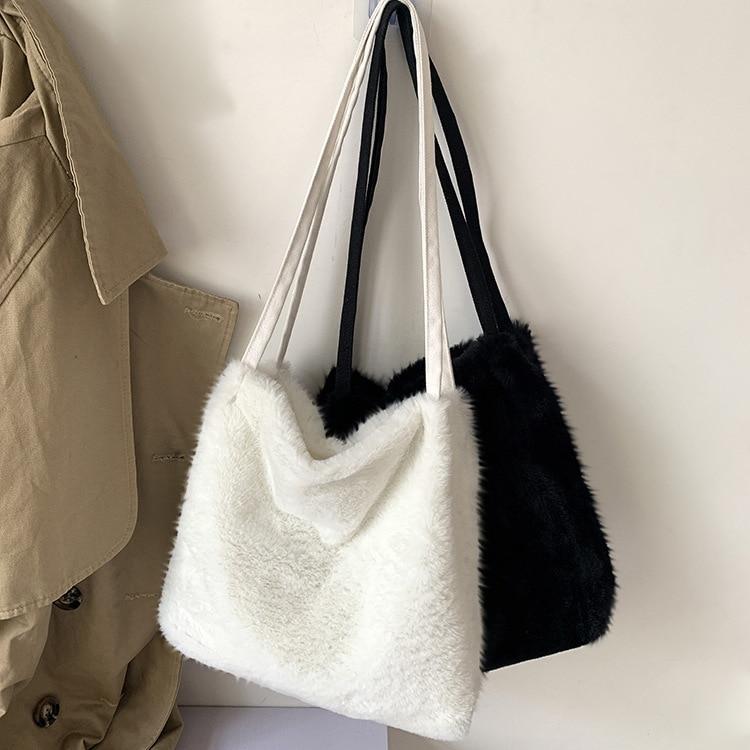 Plush Handbags Faur Fur Shoulder Messenger Bag  Shopping Totes Hand Bag Women Solid Color Ladies Bag