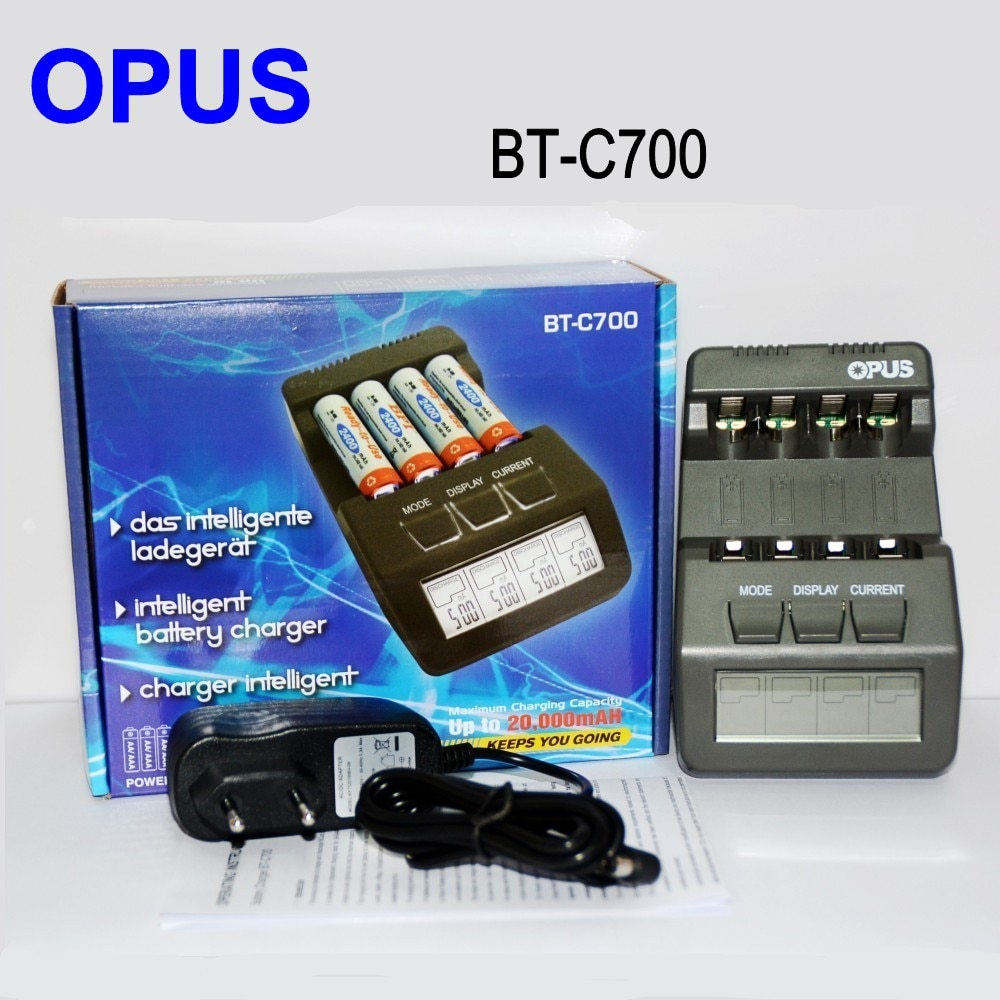 BT-C700 أوبوس الأصلي NiCd NiMh LCD الذكية الرقمية AAA 16340 RCR123 14500 AA 4 فتحات شاحن البطارية الاتحاد الأوروبي الولايات المتحدة محول مقابل OPUS