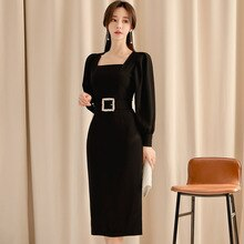 Korea Lady Cloth Slim Square Collar Knee-Length Belt Pencil Vestidos Bodycon Black Sexy OL Office Dresses