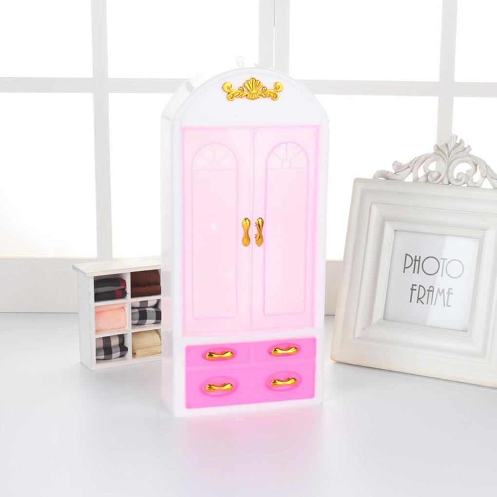 Шкаф для кукольного домика, пластиковый шкаф, миниатюрная мебель для спальни, аксессуары для кукольного домика, игрушки для девочек