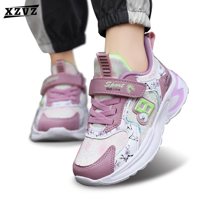 Детские кроссовки XZVZ, модные кроссовки с принтом для девочек, детские кроссовки с амортизирующей подошвой из ЭВА, легкая детская обувь