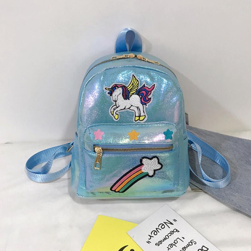 Small Travel Unicorn Backpack For Teeange Girls Laser PU Leather Women Rucksack New Fashion School Bag For Little Girl