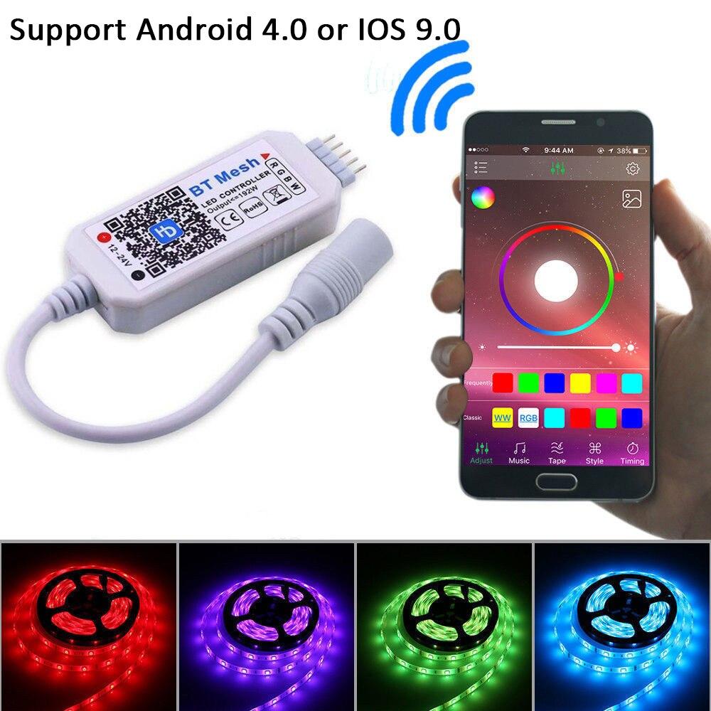 Controlador RGBW Mini Led Controlador Bluetooth Malha Rede Smart APP Controlador Para RGBW LED Light Strip DC12-24V