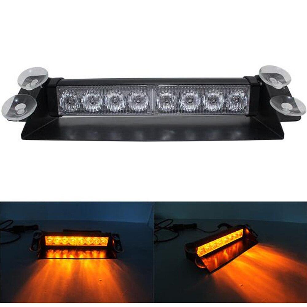 Luz LED roja/azul, amarilla y azul para coche, luz estroboscópica de policía, luz intermitente para tablero, 3 luces antiniebla parpadeantes con 3 estilos, 4/8