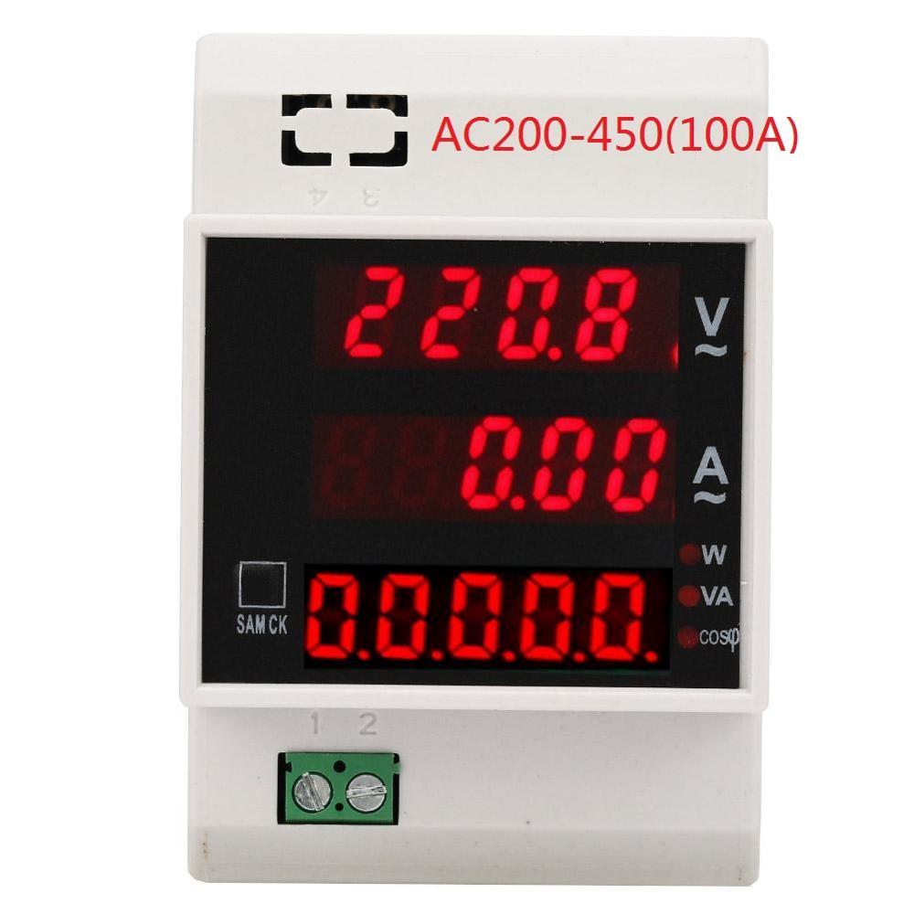 Medidor de energia digital trilho din led fator de potência ativo multi-funcional com medidor de energia