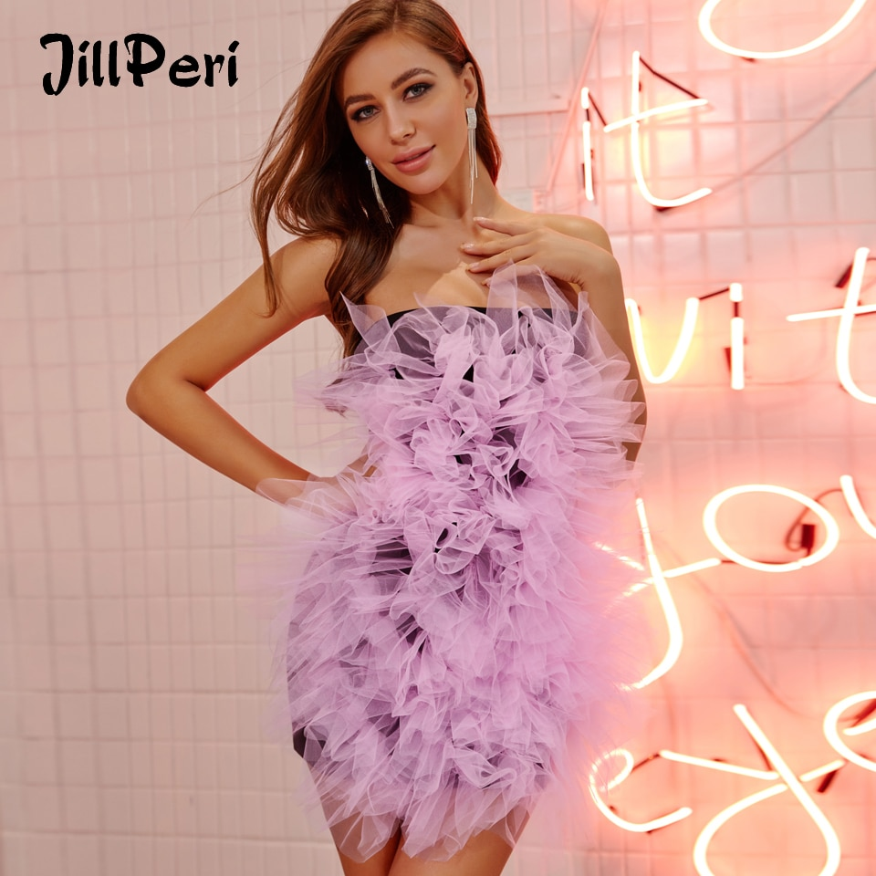 Jillperi mulheres sexy sem alças mini vestido moda estruturada malha rosa floral celebridade vestido de festa estiramento bodycon curto outfit