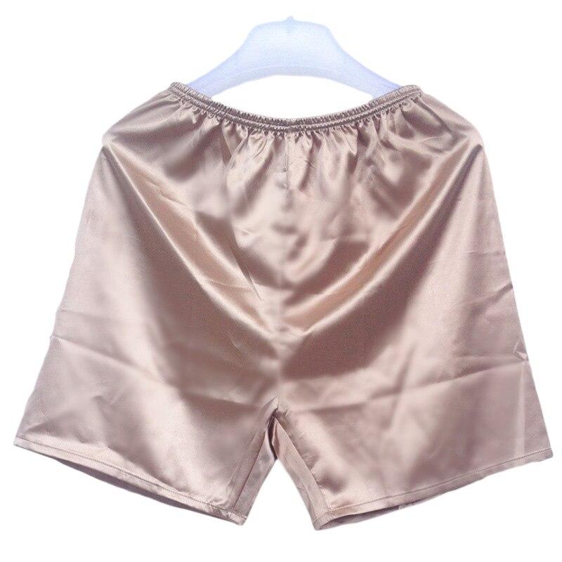 Nuevos boxers para hombre, ropa de dormir holgada, ropa interior de Color liso, Boxers de satén, pantalones cortos, ropa de dormir para hombre, ropa interior íntima de verano