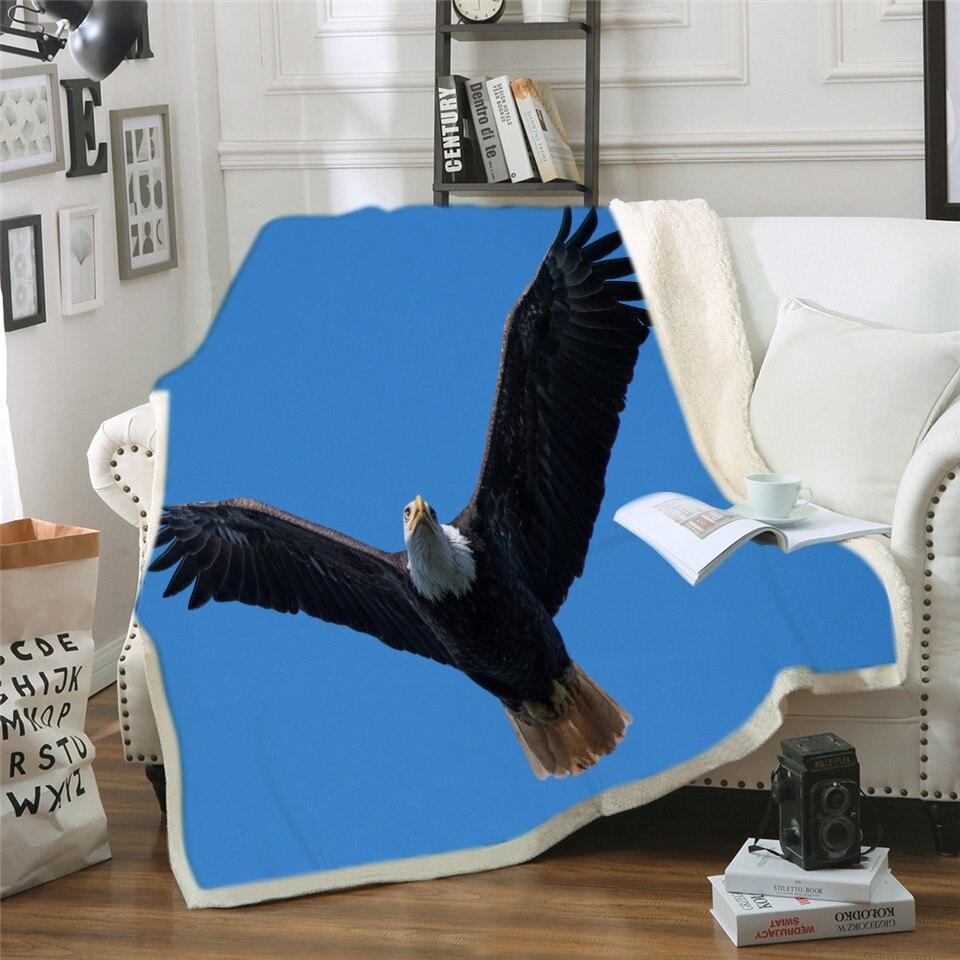 Manta suave para Sherpa de cama, manta de franela polar, sofá de viaje para el hogar, manta suave con águila negra