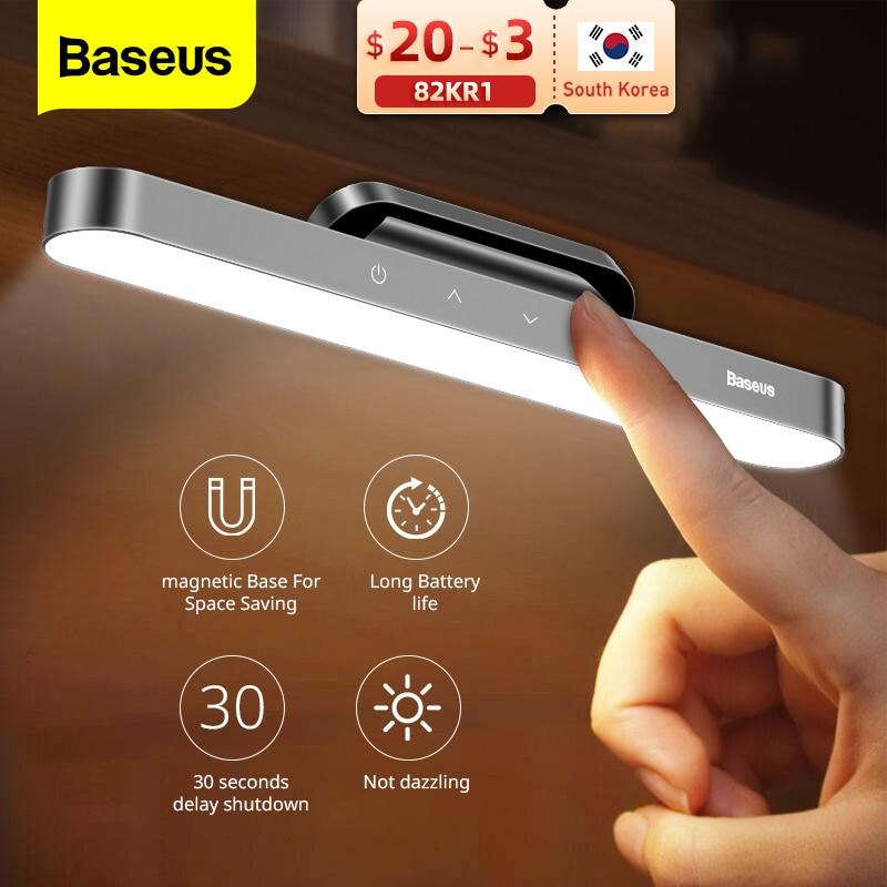 Baseus LED الجدول مصباح المغناطيسي لمبة مكتب معلقة لاسلكية تعمل باللمس ضوء الليل لدراسة القراءة مصباح ستبليس يعتم USB ضوء
