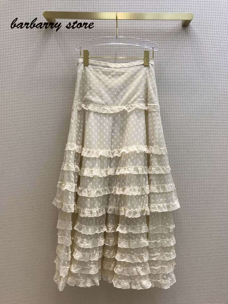 2021 high quality fashion Polka Dot women's cake skirt lace splicing temperament skirt versatile slim FAIRY DRESS A-line skirt