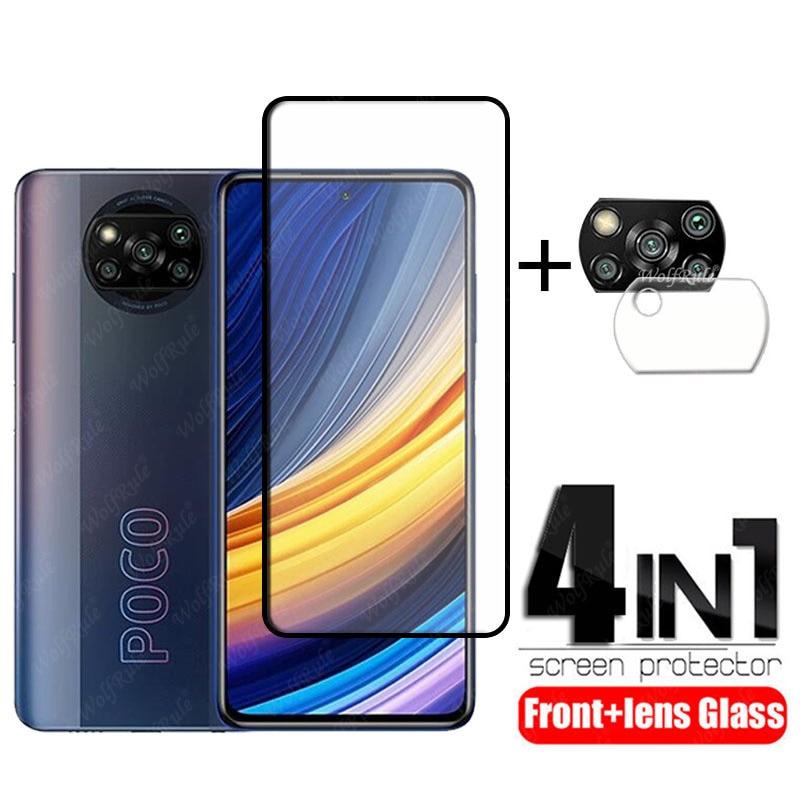 4-in-1 For Poco X3 Pro Glass For Xiaomi Poco X3 Pro Tempered Glass Full Glue Screen Protector For Poco F3 M3 X3 Pro Lens Glass