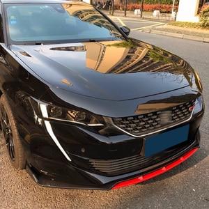 Front Bumper Spoiler Protector Plate Lip Type DGS Body Kit Splitter Carbon Surface Chin Shovel For Peugeot 508 2019