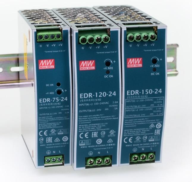 يعني حسنا EDR-75 120 150 12V 24V 48 V meanwell EDR-75 120 150 12 24 48 V إخراج واحدة تحويل التيار الكهربائي